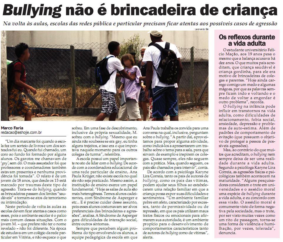 Artigos sobre bullying
